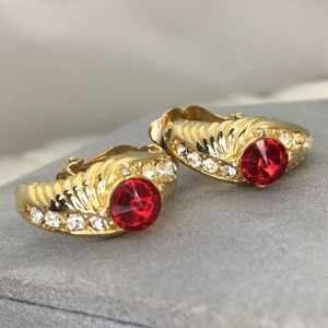 Vintage Red & Clear Rhinestone Clip-on Earrings